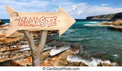 de madera, señal, indicar, a, Namaste,