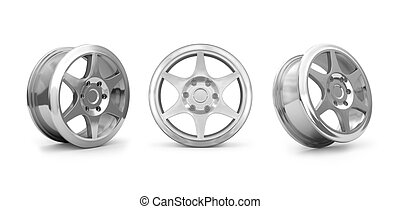 Collection car disks  for tires isolated on white.