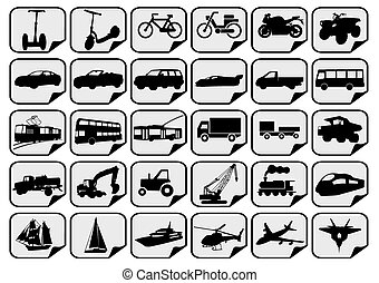 simple transport icons - vector black simple transport icons