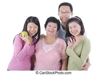 healthy asian family