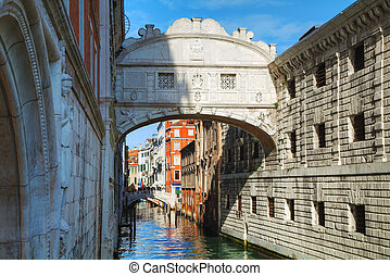 Bridge of sighs in Venice, Italy on a sunny day