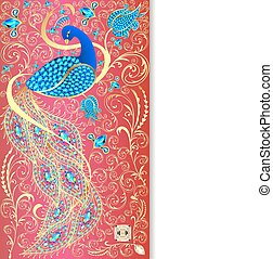illustration background with peacock with gold ornament and...
