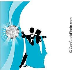 azul, pareja, Plano de fondo, bailando