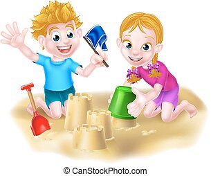 Boy and Girl Playing in the Sand - Cartoon kids playing in...