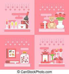 Flat design valentine's day gift