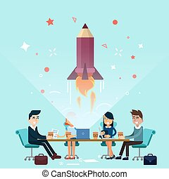Business Project Startup Concept Design. Business Meeting,...