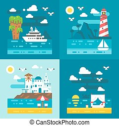 Flat design romantic dating places illustration vector