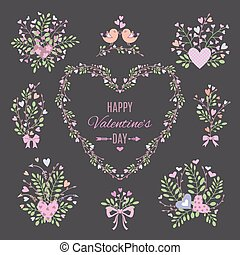 Set of floral elements for your Valentine's Day or...