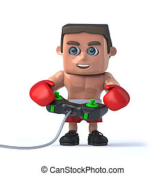 3d Boxer plays a video game - 3d render of a boxer holding a...