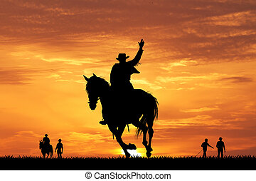 rodeo cowboy at sunset - rodeo cowboy silhouette at sunset