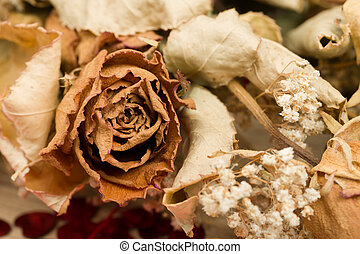bouquet of dried roses with leaves - Detail of bouquet of...