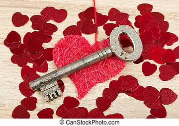 Key with the heart, symbol of love