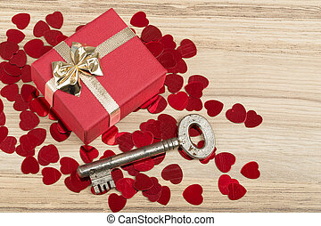 Key with the heart, symbol of love - Key with the heart as a...