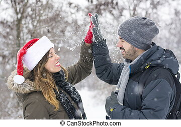 Couple in love outdoors on a winter day