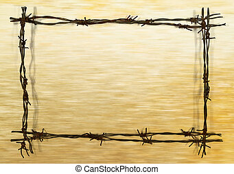 frame from barbed wire - frame from rusty barbed wire on the...