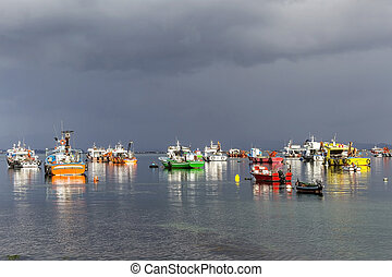 Boats on the storm - Gathering Storm on the anchored boats...