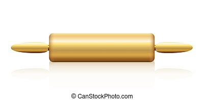 Rolling Pin Gold - Golden rolling pin Isolated illustration...