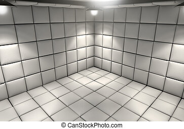 Padded Cell - A white padded cell in a mental hospital