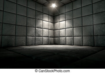 Padded Cell Dirty Spotlight - A dark dirty white padded cell...