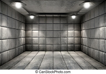 Padded Cell Dirty - A dirty white padded cell in a mental...