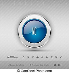 Vector design elements Blue and gray glossy button with set...