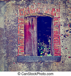 Dilapidated Houses - Window of Dilapidated Houses Decorated...