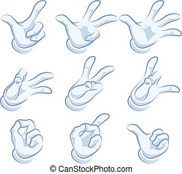 Set of hand gestures. Hand in glove