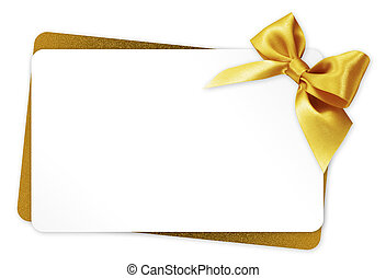 gift card with golden ribbon bow Isolated on white...