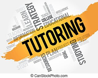 TUTORING word cloud, education concept