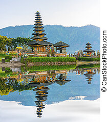 temple ulun danu bali, indonesia with water reflection