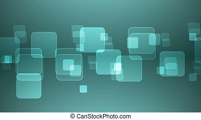 Overlapping Cyan Squares - Abstract Overlapping Rectangular...