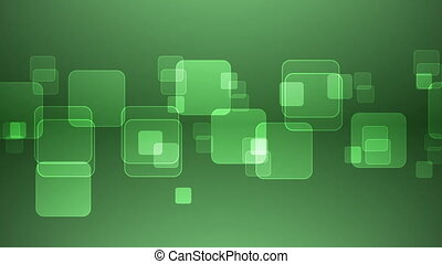 Overlapping Green Squares - Abstract Overlapping Rectangular...