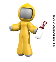 3d Lady Bio Hazard Cleaning - 3d lady with sprayer, ready to...