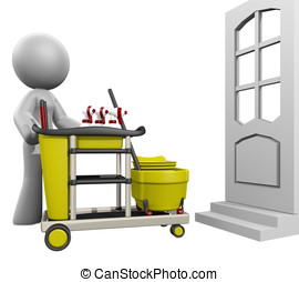 3d Lady House Cleaning - 3d lady showing up at a door to...