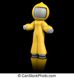Yellow Bio Hazard Suit, 3d Lady - 3d lady wearing bio hazard...