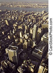 New York - view from the top of the skyscrapers of...