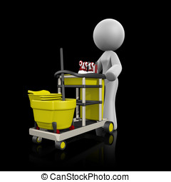 3d Lady Cleaning Cart on Dark - 3d lady with cleaning cart...