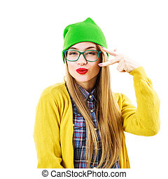 Funny Hipster Girl Going Crazy Isolated on White - Portrait...