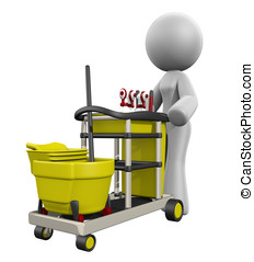 3d Lady Cleaning Cart - 3d lady with cleaning cart