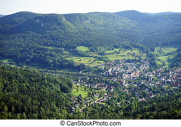 Small town in valley in Shwabia, Germany...