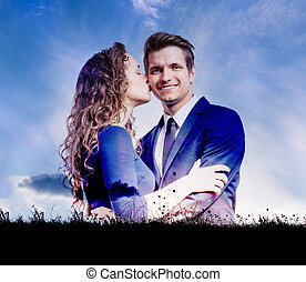 Double exposure of beautiful young couple - Double exposure...
