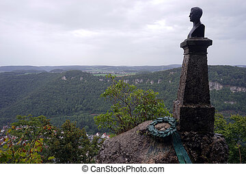 Wilhelm Hauff Monument at Castle Lichtenstein in Swabia,...