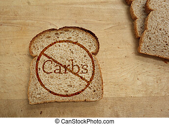 Carbohydrate ban - Slice of bread with Carbs ban, dietary...