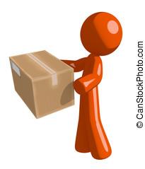 Orange Man Delivering a Package