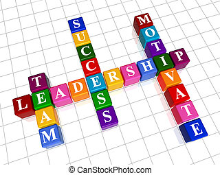crossword 14 - 3d colour boxes crossword - leadership; team,...
