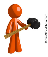 Orange Man Holding Giant Sledge Hammer - Orange Man Man...