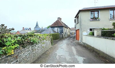 Street of a small European town France Flycam