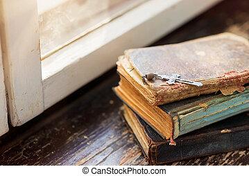 viejo, Libros, en, alféizar,