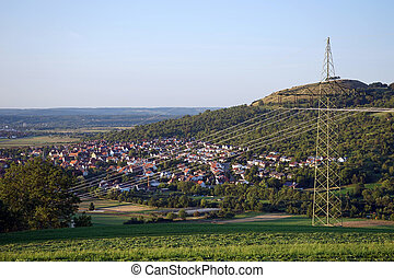 Owen town - Owen town and pylon with electrical wire...