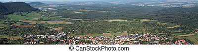 Owen town in green valley near castle Teck Germany